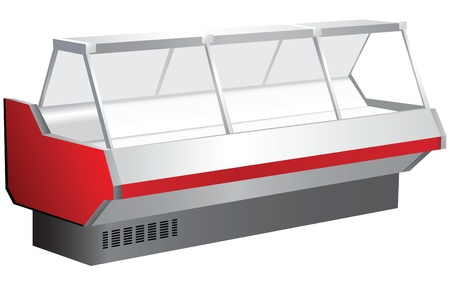 Trade counter with a showcase and cooling. Illustration