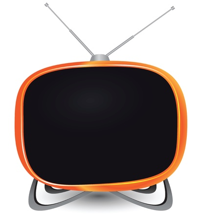 retractable: Illustration of TV - stylized vintage style with a retractable antenna.