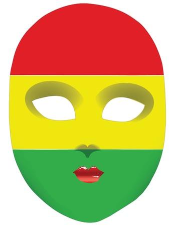Classic mask with symbols of statehood of Bolivia. illustration