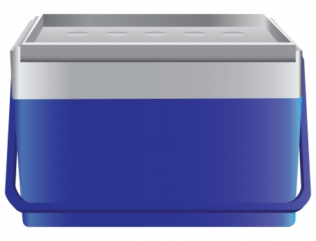 ice chest: Portable sealed storage box cold drinks and food. illustration.