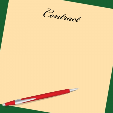 The form of contract with a red pen. Vector illustration.