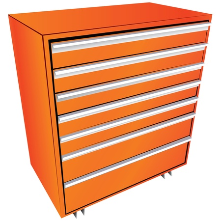 Tool box in the form of a locker with drawers. Vector illustration. 向量圖像