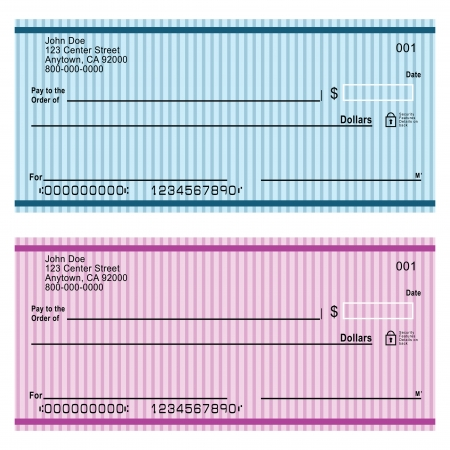 blank check: A cashiers check (cashiers cheque, bankers cheque, bank cheque or treasurers cheque) is a check guaranteed by a bank. Vector illustration.