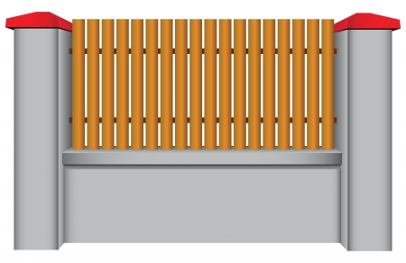 Concrete fence with wood insert. Vector illustration.