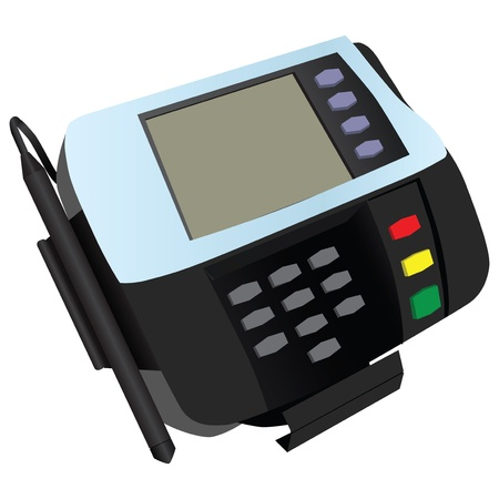 reader: Magnetic card reader at banks and stores with a sticker. Vector illustration.