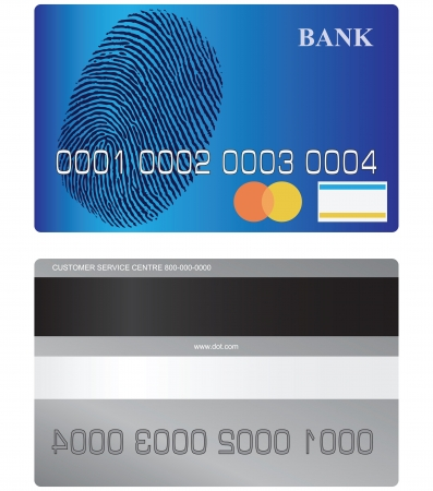 valid: Bank card front side and turn with tape and a space for a signature. Vector illustration.
