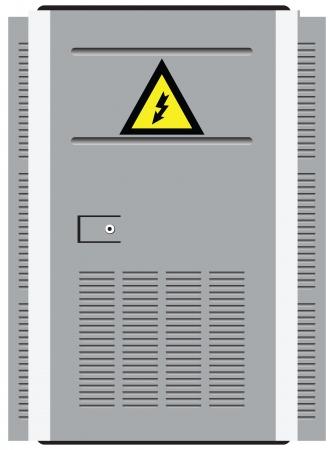 Porta stazione di trasformazione con un simbolo di avvertimento. Illustrazione di vettore. Archivio Fotografico - 21151623