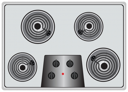 cooktop: The disabled household Electric stove into four elements. Vector illustration. Illustration