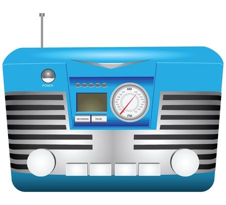 portable radio: Opci�n retro radio port�til con antena retr�ctil. Ilustraci�n del vector.