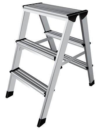 worksite: Easy step ladder two steps. Vector illustration.