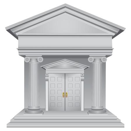 Financial symbolic allegory of the bank building. Vector illustration. Vettoriali
