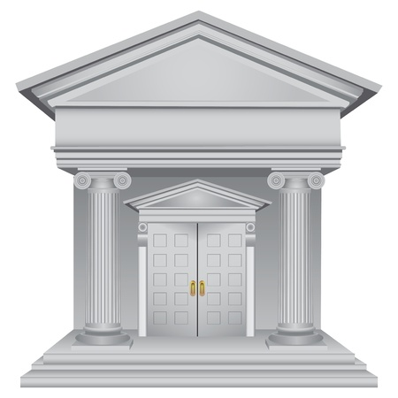 Financial symbolic allegory of the bank building. Vector illustration. 矢量图像