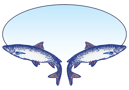 barracuda: Fishing oval emblem with two fish. Vector illustration.