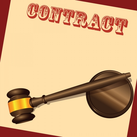 The form of contract with the judicial hammer. Vector illustration. Illustration