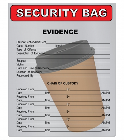 evidence bag: Coffee cup in a plastic bag for evidence. Vector illustration.