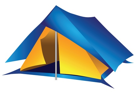 tarpaulin: Nylon double tourist tent for a long hike. Vector illustration.