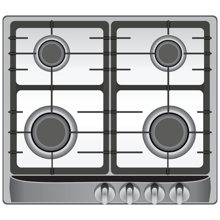The upper part of the modern gas stove four burners. Vector illustration. Stock Illustratie