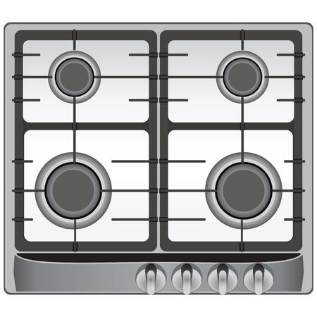 bakeoven: The upper part of the modern gas stove four burners. Vector illustration. Illustration