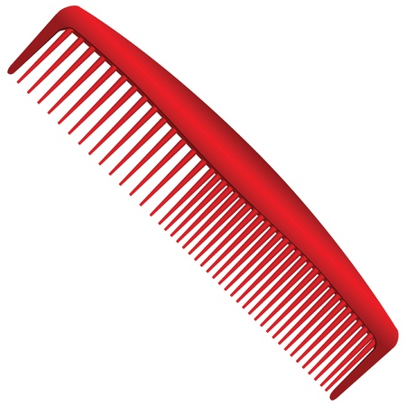 Mens red comb with different spacing between the teeth. Vector illustration. Ilustracja