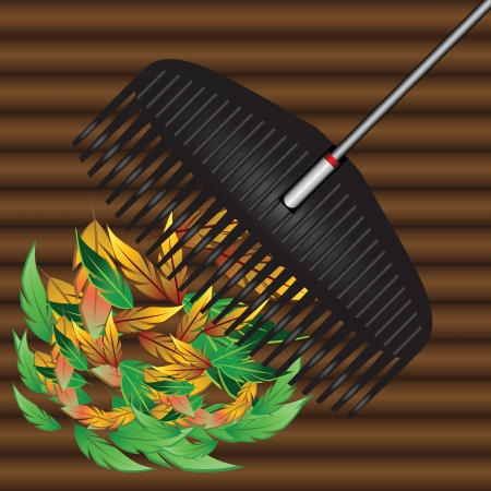 fallen: Agricultural tool for collecting fallen leaves. Vector illustration.