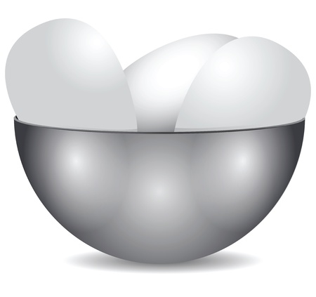 Steel bowl with eggs. Food.. Vector illustration. Stock Vector - 21543926
