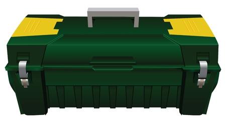 carrying box: Caja de herramientas de pl�stico con asa de transporte. Ilustraci�n del vector.