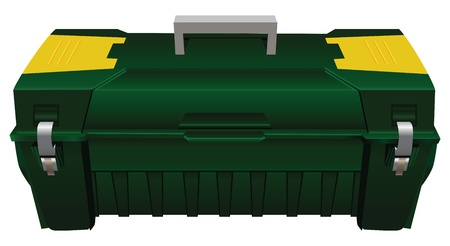 tradesperson: Plastic tool box with carrying handle. Vector illustration.