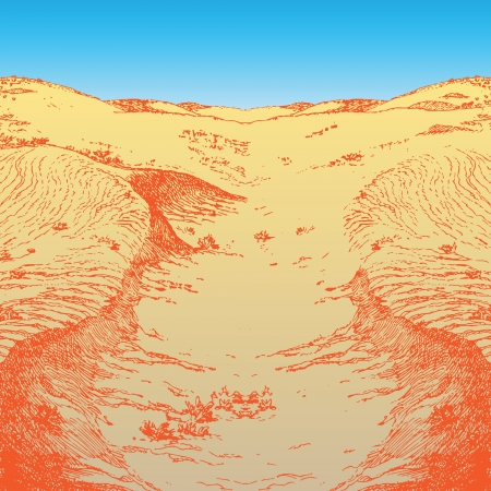Lifeless desert landscape in the afternoon. Vector illustration.  イラスト・ベクター素材