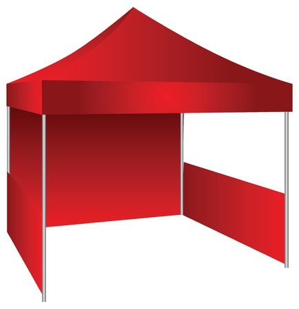penthouse: The concession stand in the form of a canopy with possible use as an exhibition canopy. Vector illustration.