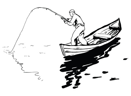 A fisherman in a boat fishing spinning reel. Vector illustration.