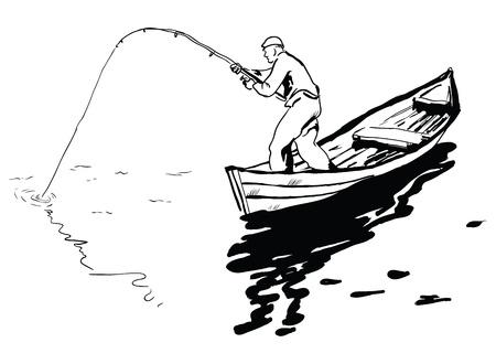 Een visser in een boot vissen spinning reel. Vector illustratie.