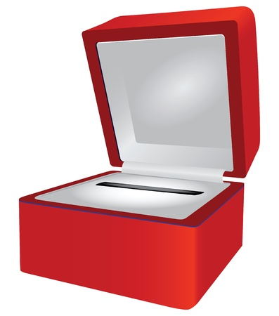 Red gift box for jewelry. Vector illustration.