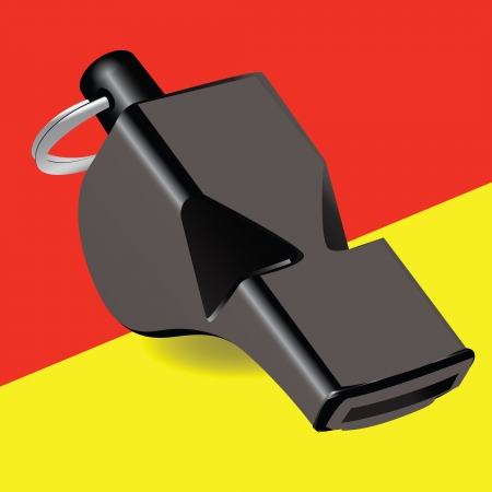 Referee kit Soccer whistle with a yellow and red cards. Vector illustration. Vector
