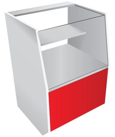 Trade counter with a glass showcase. Vector illustration. Vector