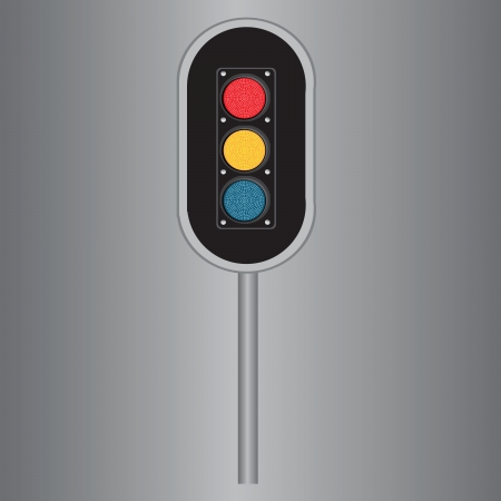 Traffic light with three lights in red, yellow and blue. Vector illustration. Ilustração