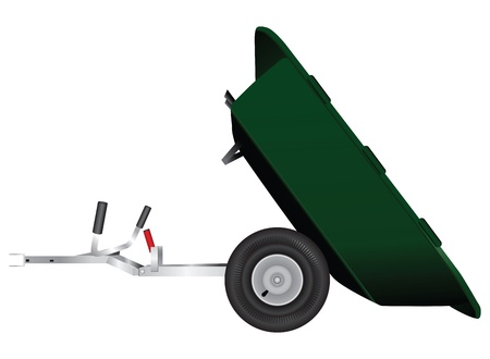 Two-wheeled trailer to minitractor. Vector illustration. Vector