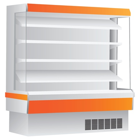Counter on four shelves with a cooling system. Vector illustration.