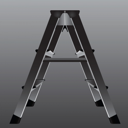 worksite: Industrial ladder for working in areas with low ceiling. Vector illustration. Illustration