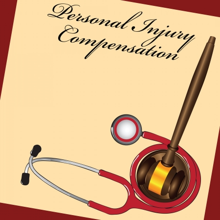 The courts decision personal injury compensation related to medicine. Vector illustration.