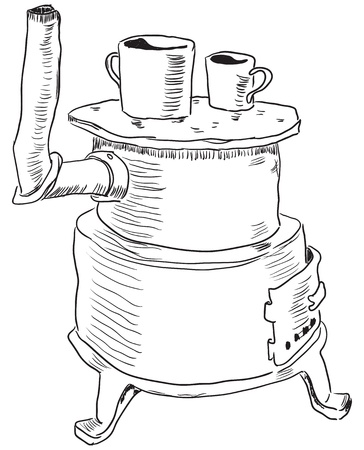 An old iron stove for cooking and space heating. Vector illustration.