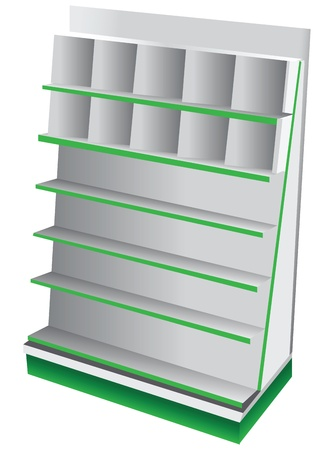 product display: Commercial Shelves for books, cards and magazines. Vector illustration.