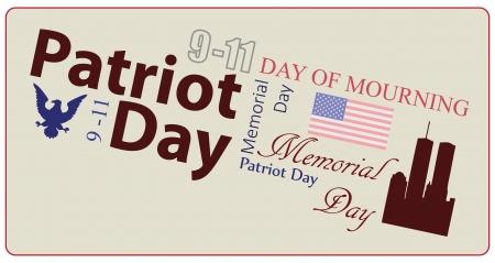 American Patriot Day Poster 911. Memorial card. Vector