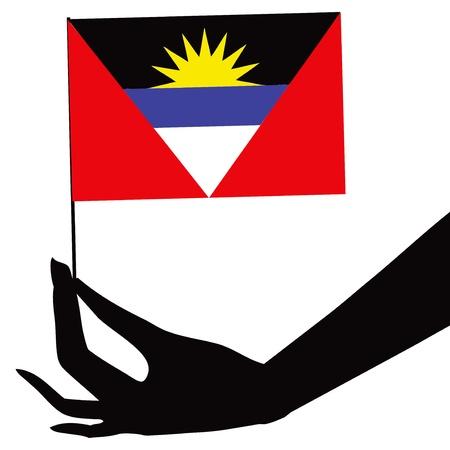 antigua: Antigua and Barbuda flag in his hand. Vector illustration.