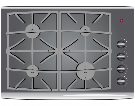 The working surface of a gas stove. Vector illustration.