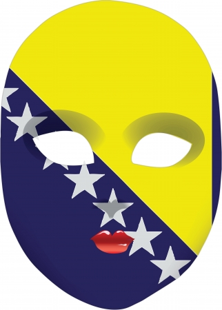 Classic mask with symbols of statehood of Bosnia and Herzegovina. Vector illustration