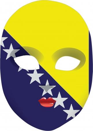 statehood: Classic mask with symbols of statehood of Bosnia and Herzegovina. Vector illustration