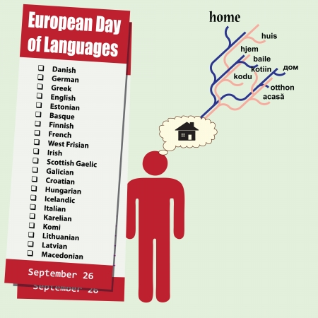 Event September - European Day of Languages. Symbol of learning languages. Vector illustration. Vector