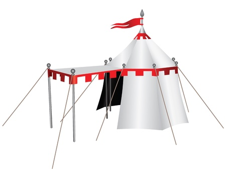 Knight's tent with a canopy in front of the entrance. Vector illustration. Reklamní fotografie - 21657819