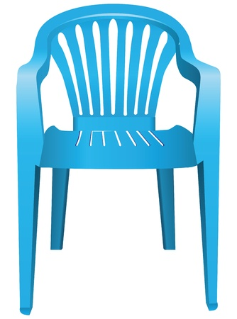 patio furniture: The chair is made of blue plastic. Vector illustration.