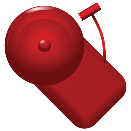disaster prevention: Red alarm bell with alarm calls. Vector illustration.